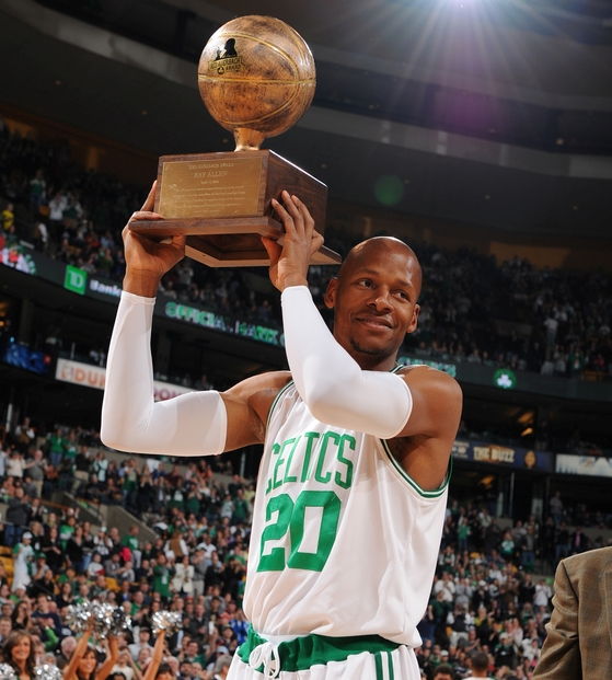 Ray holds the trophy given to the #2 seed in the East.