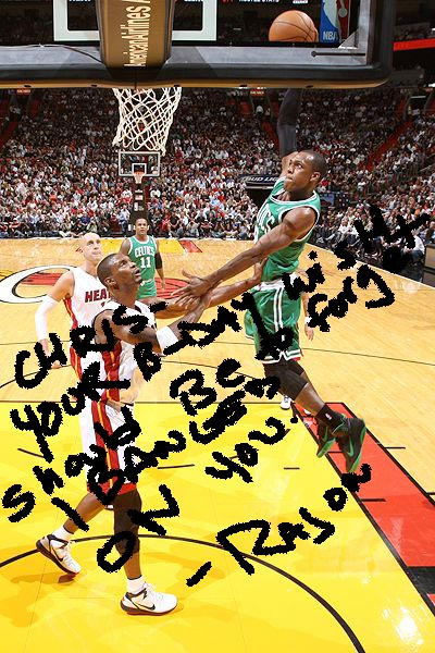 Rondo dunks on bosh autographed