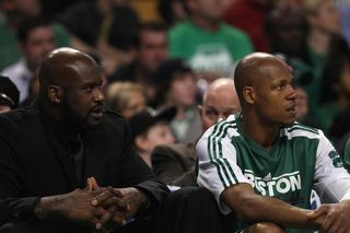 Shaq and ray on bench