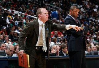 Head-coach-doc-rivers-and-assistant-coach-lawrence-frank-of-the-boston-celtics-against-the-atlanta-hawks-at-philips-arena-on-april-1-2011-in-atlanta-georgia