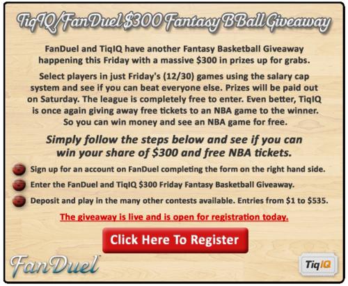 FanDuel Graphic Friday Dec 30 NBA Games