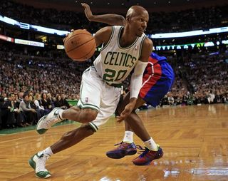 Ray Allen drives by Ben Gordon