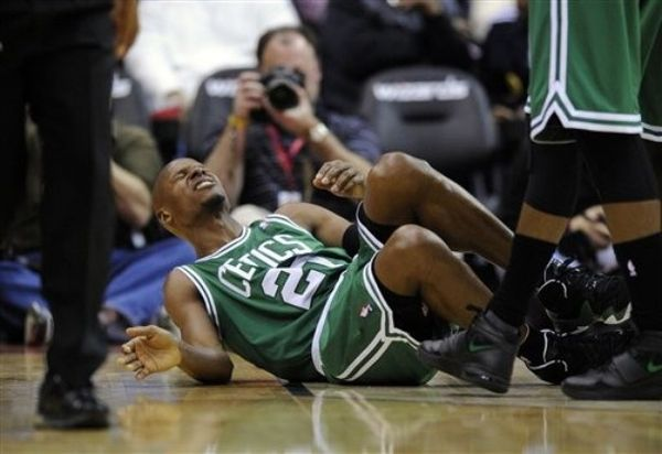 Ray allen on the floor with ankle injury