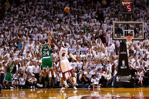 Paul pierce hits a 3 in LeBron James face game 5